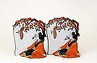 2 Old Japanese Kutani Geisha Bookends Bookend