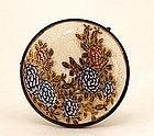 Old Japanese Satsuma Flower Button Belt Buckle