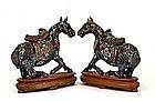 Pair Chinese Cloisonne Enamel Horse Pony Donkey