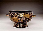 Old Japanese Makie Lacquer 2 Ears Footed Bowl Signed