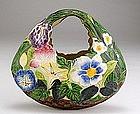 Old Japanese Banko Ware Flower Basket Hanging Vase