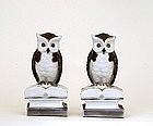 2 Old Japanese Kutani Owl Bookends Figurine