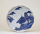 Old Japanese Blue & White Imari Plate Farm Scene