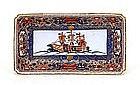Japanese Black Ship Foreigner Imari Rect. Plate Sg