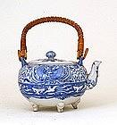 Old Japanese Blue & White Imari Phoenix Teapot