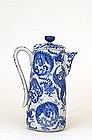 Old Japanese Blue & White Imari Phoenix Chocolate Pot