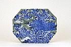 Old Japanese Celadon Blue & White Imari Plate