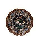 Old Japanese Goldstone Cloisonne Flower Plate