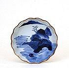 Old Japanese Blue & White Imari Bowl Scene