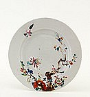 19C Chinese Export Famille Rose Plate w Bird