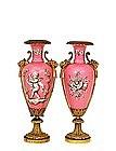2 19C Gilt Bronze Sevres Meissen Cherub Vase