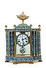 Lg Chinese Enamel Cloisonne Mantel Clock European Lady