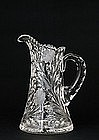 Old Brilliant Cut Glass Pitcher with Flowers
