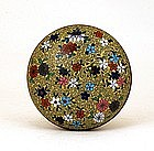 Old Japanese Yellow Mille Flure Cloisonne Powder Box
