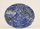 Old Japanese Celadon Blue White Imari Charger