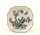 Old 1930s Chinese Famille Rose Plate Eagle Mk