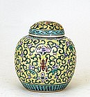 Old Chinese Export Yellow Ground Famille Rose Tea Caddy