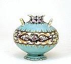 Old Japanese Nippon Light Blue Purple Flower Vase