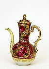Old Japanese Nippon Gold Bead & Roses Chocolate Pot