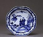 Old Japanese Blue & White Imari Figurine Plate