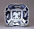Old Japanese Blue & White Imari Porcelain Sq Bowl