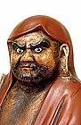 Lg Old Japanese Kutani Red Robe Daruma Figurine