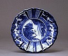 3 Old Japanese Blue & White Imari Plate Figurine Scene