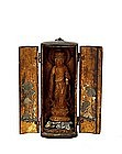 19C Japanese Lacquer Wood Carved Travel Shrine Buddha