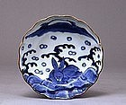 19C Japanese Blue & White Imari Rabbit Bowl