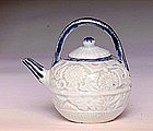 Old Japanese Imari Kutani Blue & White Teapot Flower