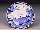 Old Japanese Blue & White Arita Imari Kutani Plate