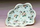19C Chinese Celadon Famille Rose Medallion Leaf Plate