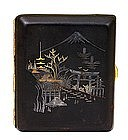 Old Japanese Komai Sty Iron Gold Silver Cigarette Case