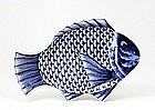 Old Japanese Blue & White Imari Fish Plate