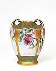Old Japanese Nippon Gold Beaded Rose Vase Mk