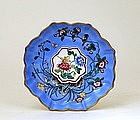 Old Chinese Export Enamel Cloisonne Turquoise Plate