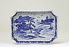 Japanese Blue & White Imari Transfer Sq Scene Plate