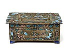 Old Chinese Export Enamel Cloisonne Box w Fox & Grape