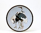 Old Japanese Cloisonne Plate w 3 Crane