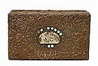 Old Chinese Export Gilt Copper Dragon Jade Box