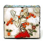 Old Chinese Export Enamel Cloisonne Jade Coral Box