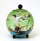 Meiji Japanese Cloisonne Ginbari Jar Crane