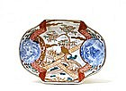 Old Japanese Imari Dragon Lobe Shp Dish