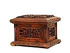 Old Chinese Export Wood Casket Box w Figurine