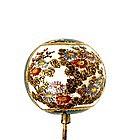 Old Japanese Green Satsuma Hair Hat Pin Button