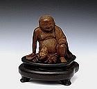 Old Chinese Bamboo Buddha & Toad