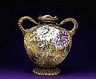 Old Japanese Nippon Moriage Bead Vase Mk