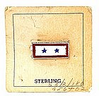 Military WWII Sterling Silver 2 Stars Sweetheart Pin