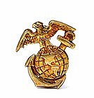 WWII Sterling Silver Eagle Globe Marine Anchor Pin