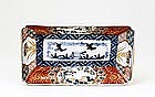 Old Japanese Imari Rect Plate w Crane
